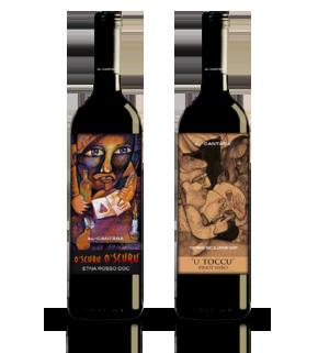 coffret de deux bouteilles de vin